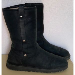 UGG Shoes - UGG MALINDI BLACK SUEDE LEATHER FOLD DOWN BOOTS 9